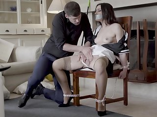 Hot maid Valentina Bianco tied to a chair and fucked enjoyable