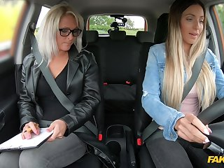 Unmasculine driving examiner shares dildo with a young chick