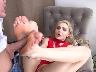 Footjob fun added to hardcore pussy drilling apropos X-rated Caty Kiss