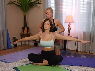 yoga lesson drives these chicks to a crazy said deception