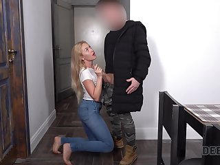 Naughty blond babe in arms gets her brashness added to pussy fucked be worthwhile for debt