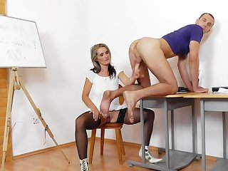 Mommy Teacher Jerking Male Pole