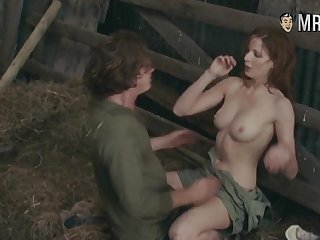 Hollywood celebrity Kelly Reilly having dirty sex back a hay barn