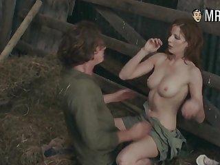 Hollywood celebrity Kelly Reilly having dirty sex back a hay barn