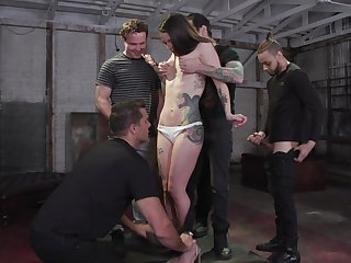 Tattooed harpy Vanessa Vega is fucked and jizzed by several brutal guys