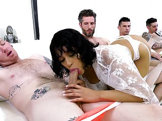 Double trouble for the sleazy Latina in gang bang fake