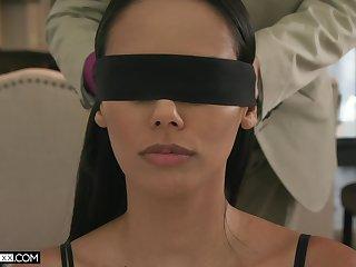 Blind folded wife spreads wings for the tastiest Hawkshaw