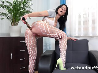 Debauched big bottomed hoe in fishnet pantyhose Julia Black loves solo