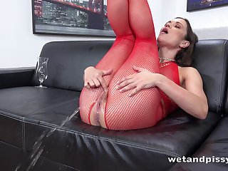 Horny lady in red fishnet stuff Alyssa Reece goes unreasoned nigh masturbation
