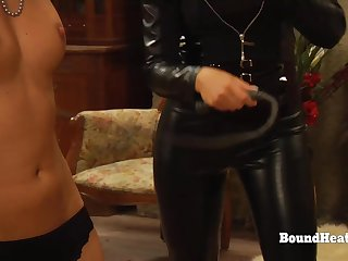 Lesbo Slaves In Bondage Whipped And Groped By Stony Madame