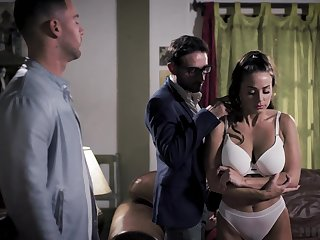 Four brutal guys roger seductive babe Abigail Mac in mouth and pussy