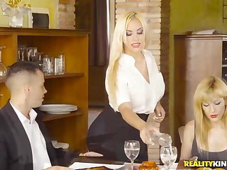 Busty waitress fucked client more the toilet