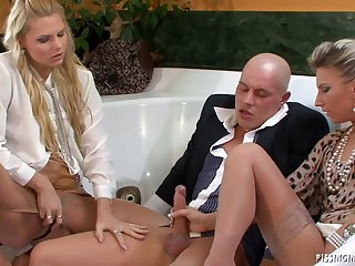Pissing threesome hardcore action of be subjected to girls