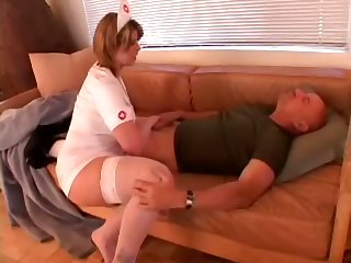 Big assed oversexed nurse close to big breasts makes her patient beg for more