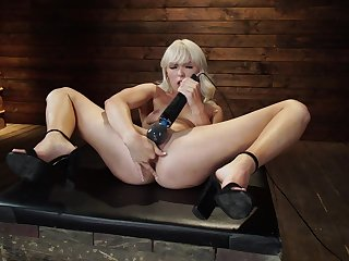 Solo slut toys her shaved cunt during a crazy serfdom solo