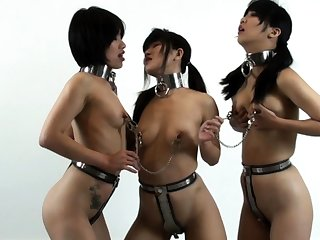 Hot lesbian bdsm scene with horny Japanese