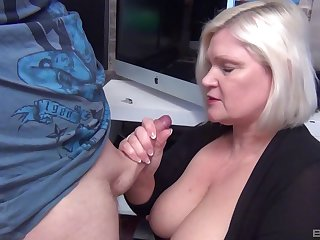 Slutty blonde mature Lacey Starr drops on her knees to give head