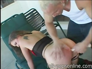 Hardcore ass branch of knowledge ends with cum alongside mouth for Luissa Rosso