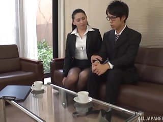 Japanese office lady wants be transferred to new guy's cock germane away
