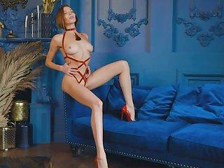 Russian Redhead Mia Aria erotic posing in remarkable lingerie.. ooh la la!