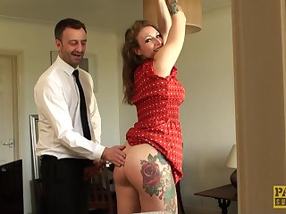 Curvy catholic receives the rough treatment in dwelling-place BDSM anal tryout