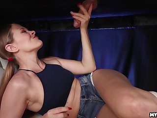 Teenager plays with the thick dong to the fullest pacific clothed