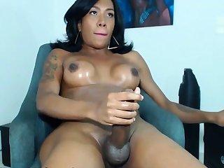 Hot Big Shafted Latina TS Jerking Missing on Webcam