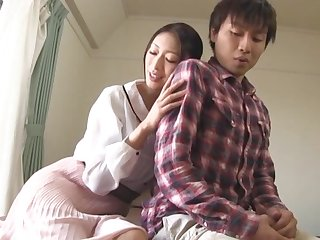 Smoking hot Japanese MILF knows how to tickle a friend's Hawkshaw