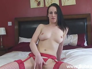 Adorable chick Maggie in red lingerie and stockings having fun